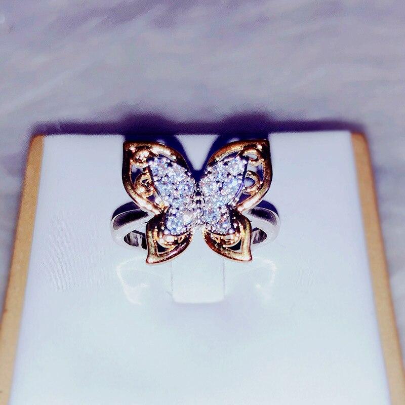 Модное роскошное кольцо с бабочкой и инкрустированным цирконом, изящное кольцо в форме бабочки, ювелирные изделия для женщин. Подходит для ...
