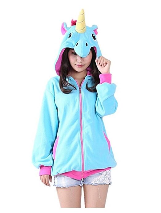 Animal Cosplay Costume Narwhal Blue Or Pink Unicorn Hoodies Adult Jacket Coat Hoody Winner Sweatshirt Cosplay For Women