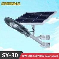 Новое прибытие 30 Вт солнечной энергии панели 20 Вт superbright 2000LM светодиодный уличный фонарь Рэй датчик + контроль Времени На Открытом Воздухе п