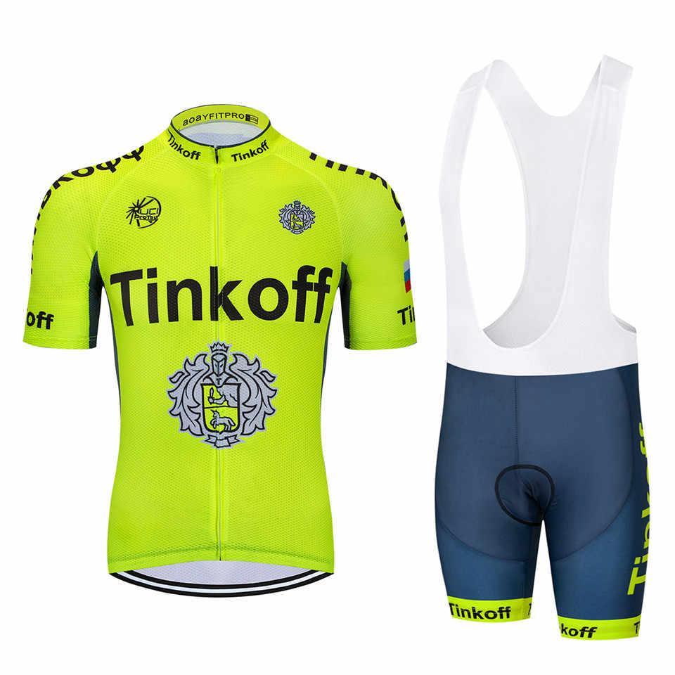 UCI 2018 Tinkoff saxo bank Short Sleeve Cycling Jersey kit Ropa Ciclismo  MTB Cycling Clothing 85fd063d5
