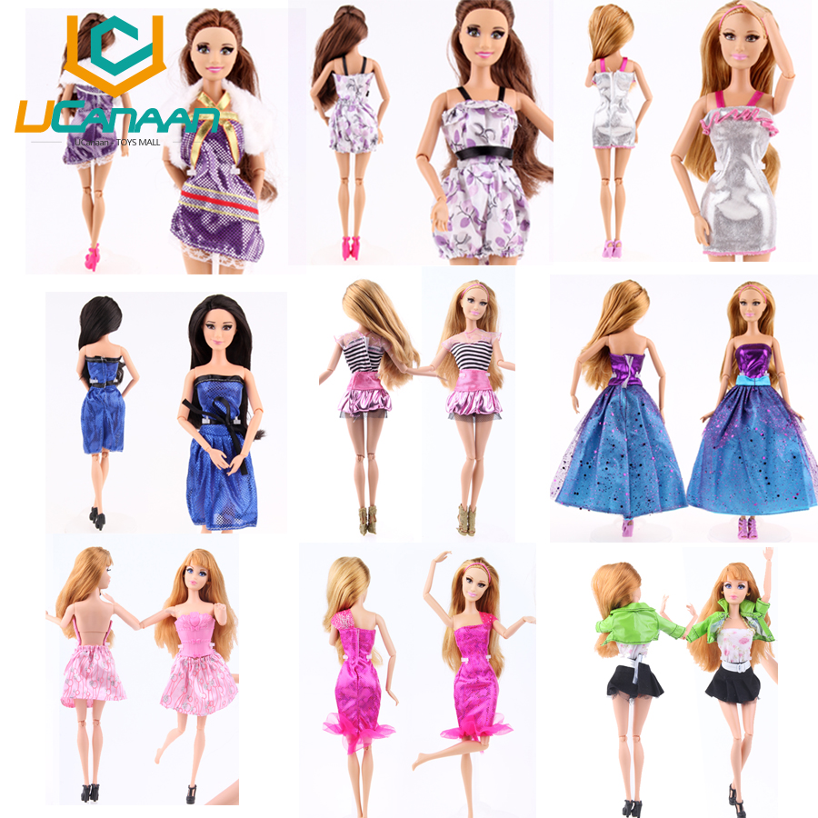 Ucanaan 20 Items Clothes Shoes For Barbie Doll 10 Clothes Outfit 10 Shoes Mix Style Mix Color