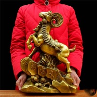 43cm large 2019 business bring wealth and fortune Prosperity Wealth brass Goat Sculpture home shop art animal TOP Ornament