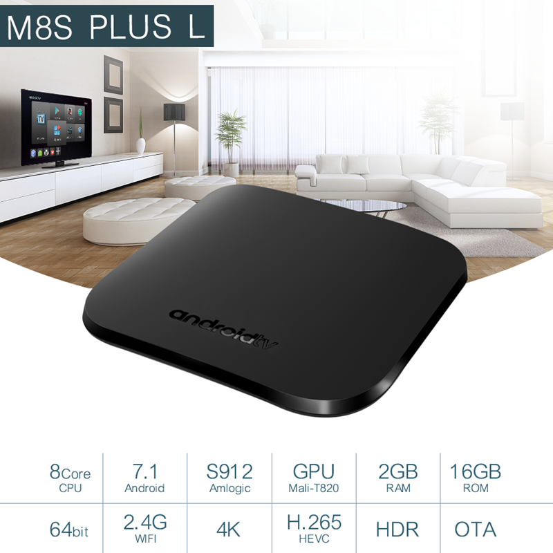 цена на Mecool m8s plus l smart tv box android 7.1 2gb 16gb amlogic s912 2.4G wifi 4K H.265 IPTV stalker Netflix set top box android tv