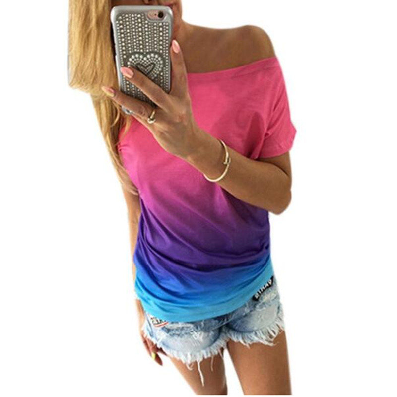 New Fashion 2017 summer women t-shirt Gradient rainbow gradual change print O-neck short sleeve tee shirts tops female