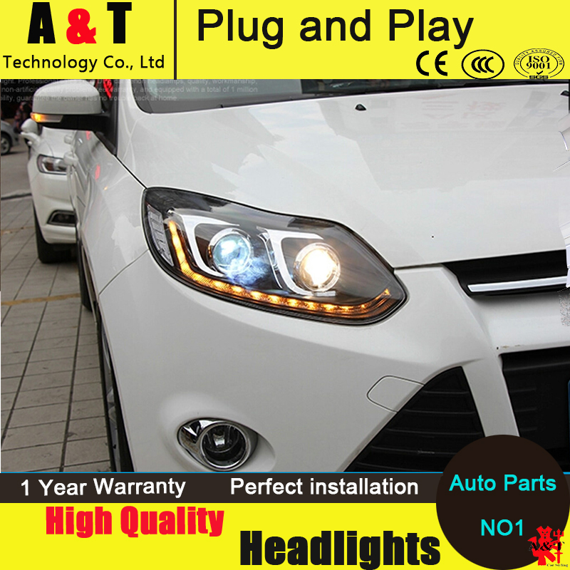 Auto Lighting Style LED Head Lamp for Ford Focus 3 led headlight assembly 2012-2014 cob signal led drl H7 with hid kit 2pcs. hireno headlamp for 2016 hyundai elantra headlight assembly led drl angel lens double beam hid xenon 2pcs