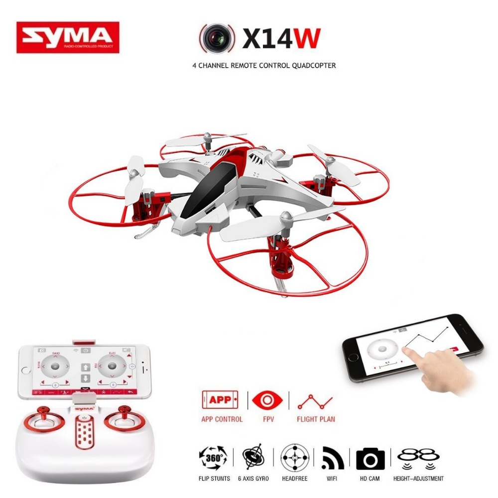 Syma X14W FPV Drone with Built-in Camera HD Live Video Headless Mode 2.4G 4CH 6 Axis Gyro RC Quadcopter with Altitude Hold brand new rc drone with camera hd altitude hold mode 2 4g 4ch 6 axis rtf fpv rc remote control quadcopter toys vs syma x8 drone