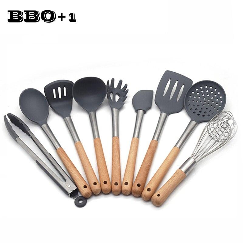 9 pièces Flexible Silicone Turner Spatule multifonction de Cuisine Outils De Cuisson Ustensile Ustensiles De Cuisine Accessoires de Cuisson Antiadhésive