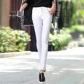 2016 new arrivals Branco Meados de cintura mulheres calças Coreano calças lápis magros esticar calças jeans femininas Denim Calças Calças