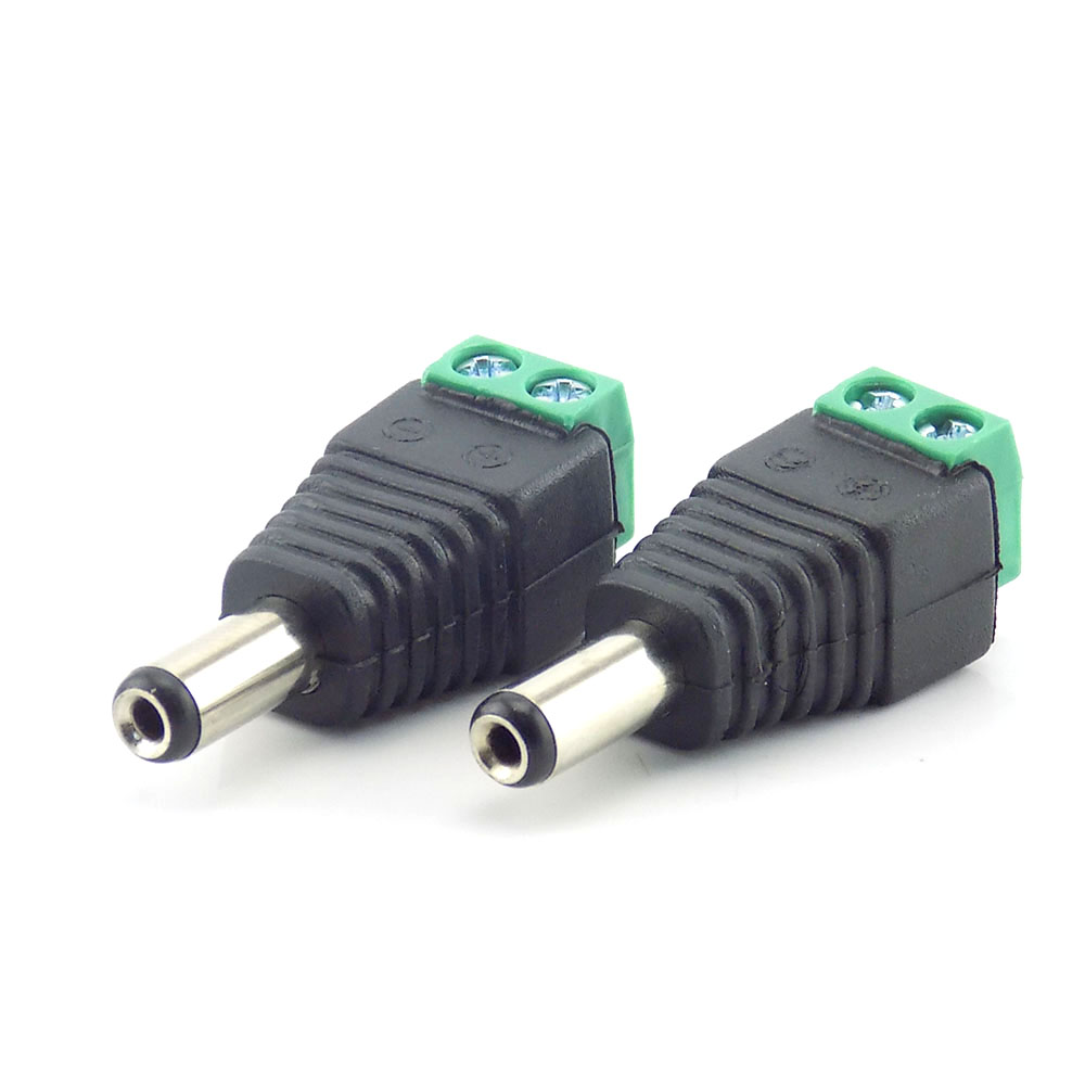20pcs 2.1mm DC Male Plug Connector Adapter Power Supply  For Cctv Camera Security System Video Camera CCTV Accessories