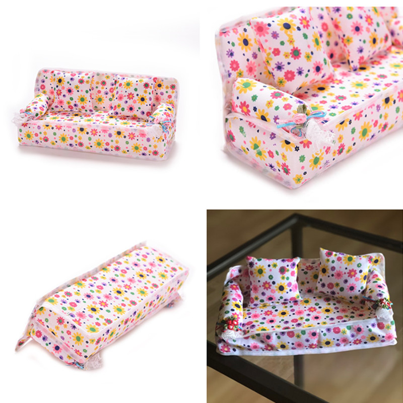 Mini Furniture Flower Sofa 20cm Couch + 2 Cushions For