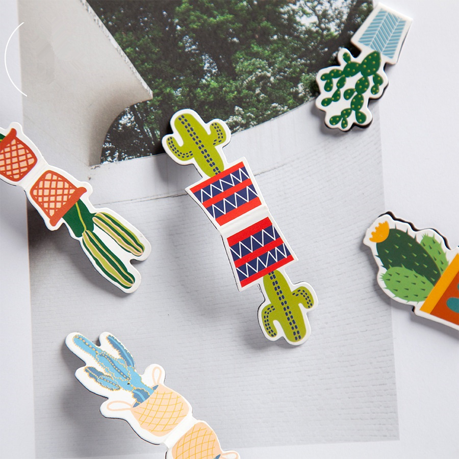 24 Pcs/Lot Cartoon Cactus Magnetic Bookmark Mini Page Clips Book Marks Stationery Item Office School Supplies Marcapaginas A6163