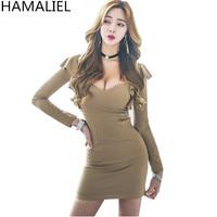 HAMALIEL Korean Sexy V Neck Spring Women Sheath OL Dress 2018 Fashion Cut Out Long Sleeve