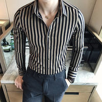 2017 Autumn Winter New Shirt Men Casual British Style Slim Fit Striped Shirts For Men Long