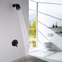 Fixed Rain Shower Head Ceramic Black Wall Mount Shower Faucet Brass Bathroom Shower Set Thermostatic