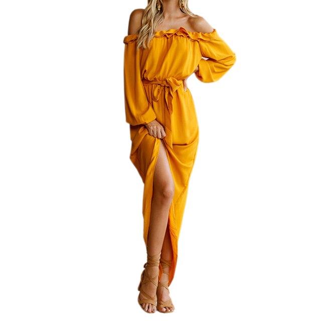 2018 нерегулярные Для женщин длинное платье Slash Средства ухода за кожей Шеи Макси платья осень, для женщин с открытыми плечами с пышными рукавами Разделение оборками GV839
