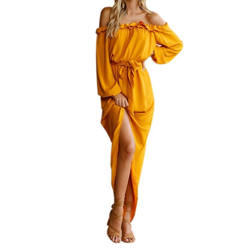 2018 unregelmäßigen Frauen Lange Kleid Slash Hals Maxi Kleider Herbst Weibliche Off Schulter Puff Sleeve Split Rüschen GV839