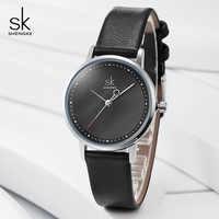 Shengke Creative Hand Fashion Women Watches Black Leather Ladies Wrist Watch Quartz Clock Reloj Mujer 2019 SK Montre Femme
