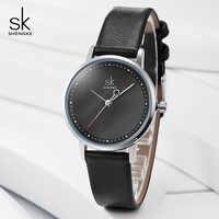 Shengke Creative main mode femmes montres en cuir noir dames Montre-bracelet Quartz horloge Reloj Mujer 2019 SK Montre Femme