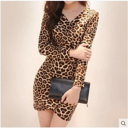 HTB1YVT6IpXXXXaOXFXXq6xXFXXXq - Women's Sexy Leopard Dress Long Sleeve JKP071