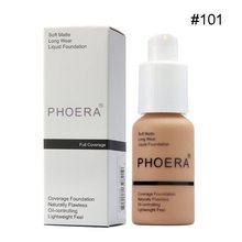 PHOERA Perfect Beauty Face Liquid Foundation Base Soft Matte Long Wear Oil Coverage