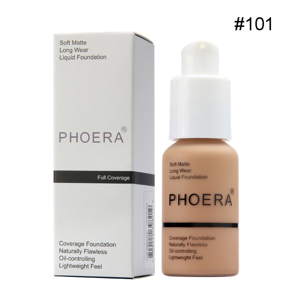 PHOERA Perfect Beauty Face Liquid Foundation Base Soft Matte Long Wear Oil Coverage Foundation image