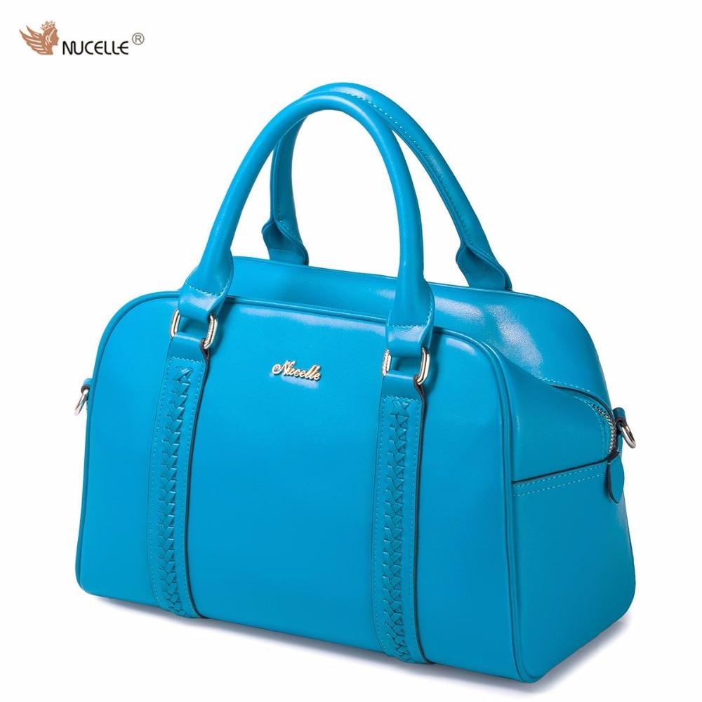 NUCELLE Brand Design Fashion Braided Cow Leather Women Girls Ladies Handbag Shoulder Boston Bag Crossbody Bags For Women