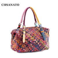 100% Women Handmade Bags Leather Handbag Colorful Cowhide Patchwork Genuine Leather Woven Bag Knitted Real Leather Tote Bag