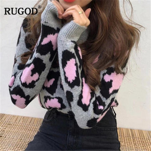Image 4 - RUGOD Vintage Fashion Leopard Women Sweaters Knitted Warm Winter Clothes Casual O Neck Women Pullover pull femme hiver