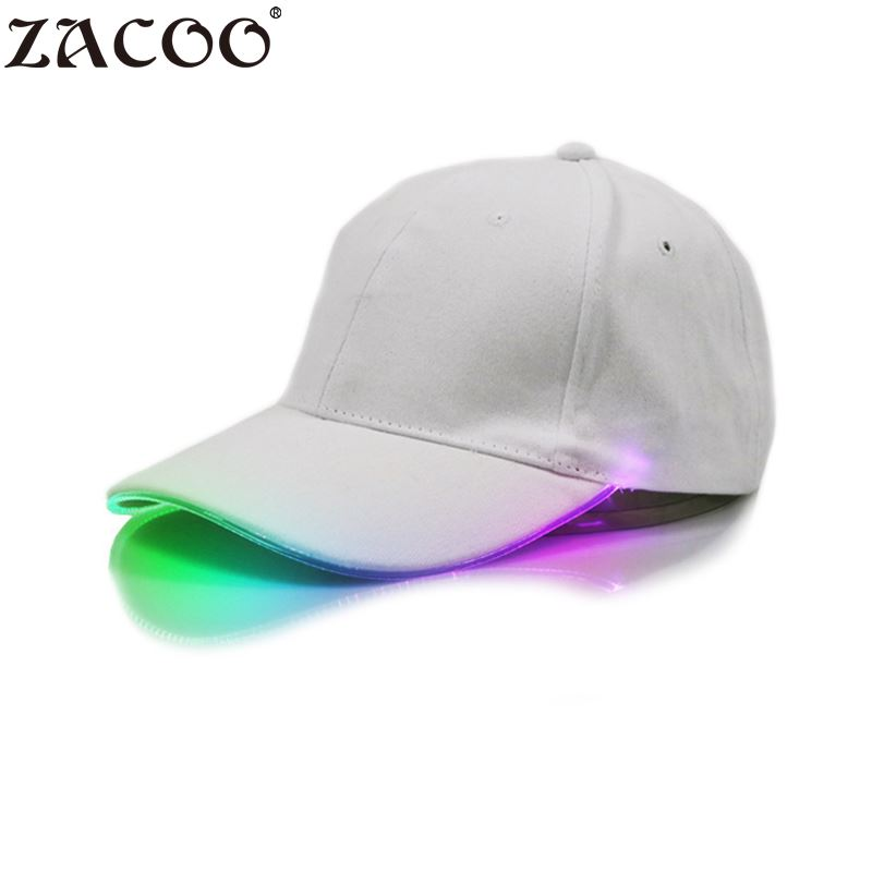 Zacoo 2017 Korean LED Light Flash   Baseball     Cap   Fashion LED Lighted Glow Club Party White Fabric Travel Hat   Baseball     Cap
