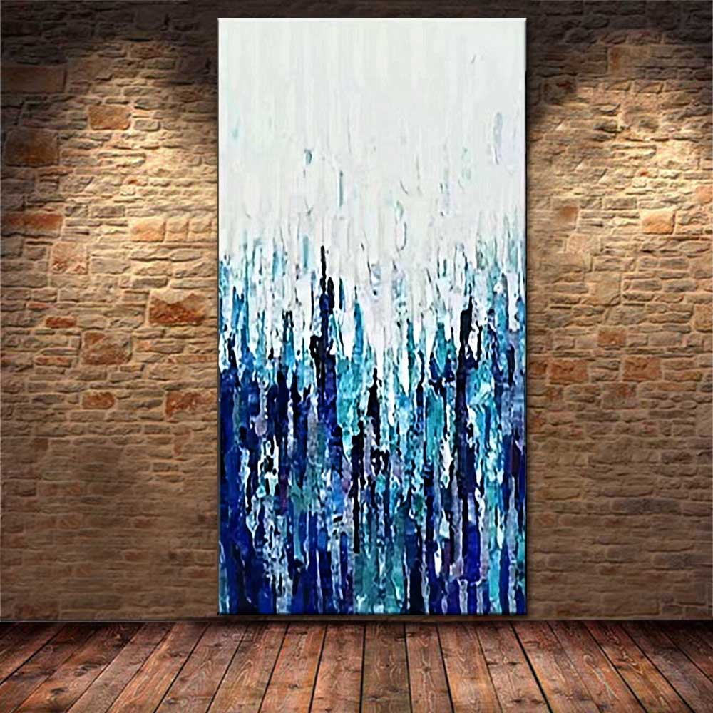 Large Size Painting Art Handmade Abstract Color Oil Painting on Canvas Abstract Blue Wall Picture Living