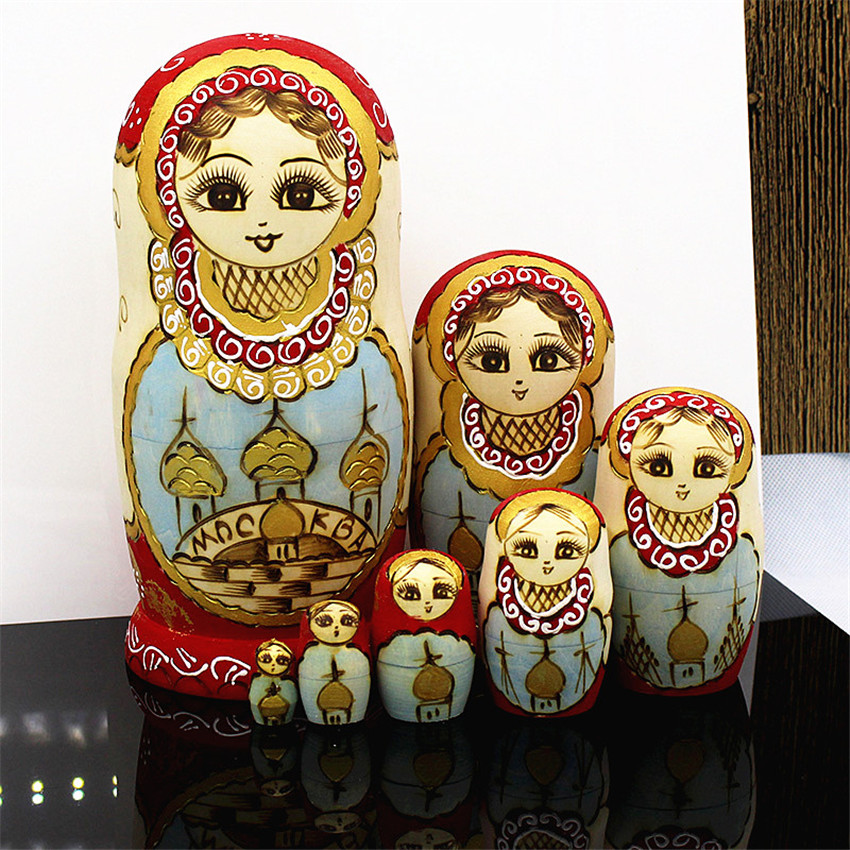 7 couches en bois poupées russes nidification mode éthique poupées Basswood sec haute qualité Matryoshka poupée éducation bricolage jouets L30
