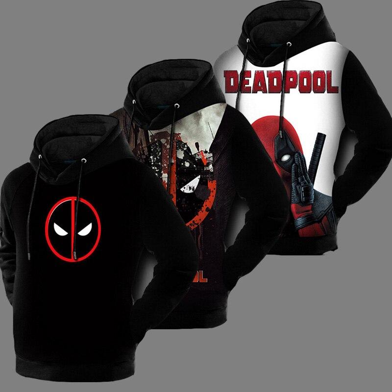 Automne Hiver 3D Imprimé Bande Dessinée Badass Marvel Sweat Deadpool Hommes À Capuche Anime Pull Manteau Doublé Polaire