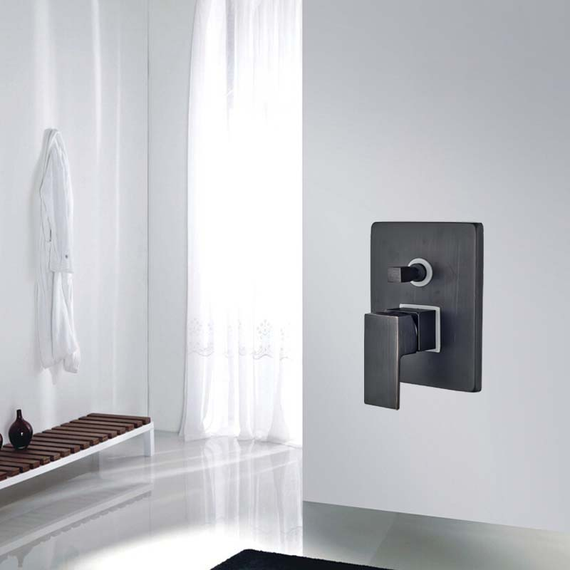 ФОТО Wholesale And Retail Modern Oil Rubbed Bronze Wall Mounted Valve Mixer Shower Faucet Accessories Valve Single Handle 2 Ways