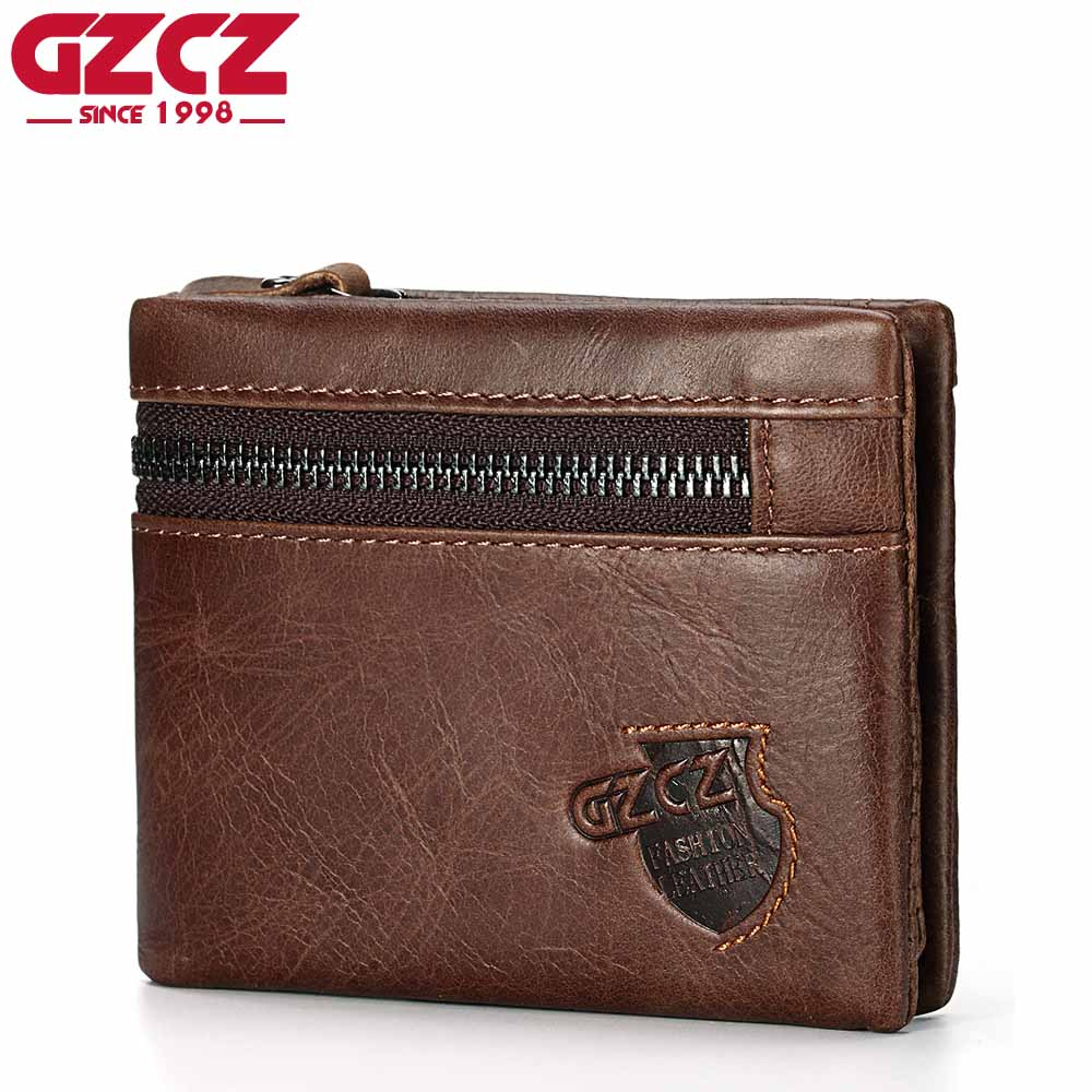 GZCZ Genuine Leather Men Wallet Luxury Brand Male Walet For Man Vintage Style High Quality Small Clamp For Money Coin Pocket New