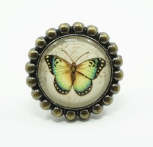 Vintage Look Butterfly Knob Glass Drawer Knobs Dresser Pulls Kitchen Cabinet Pull Handle Rustic Decorative Antique