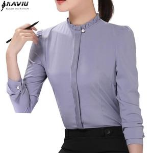 Image 1 - Fashion new women formal shirt Business slim stand collar long sleeve chiffon blouse female white gray plus office tops