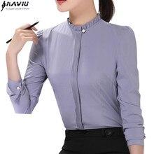 แฟชั่นผู้หญิงใหม่เสื้อธุรกิจ Slim STAND COLLAR เสื้อแขนยาวเสื้อชีฟองหญิงสีขาวสีเทา PLUS สำนักงาน Tops