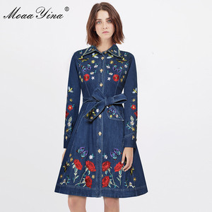 Image 3 - MoaaYina מסלול מעצב אופנה באיכות גבוהה קאובוי מעיל רוח ארוך שרוול רקמת Sashes מקרית בציר קאובוי מעיל