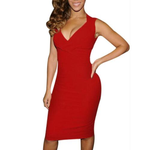 Fashion Red Black Sexy Party Dress Women V-Neck Sleeveless Knee-Length Bodycon Dresses Female Evening Club Wear Vestidos