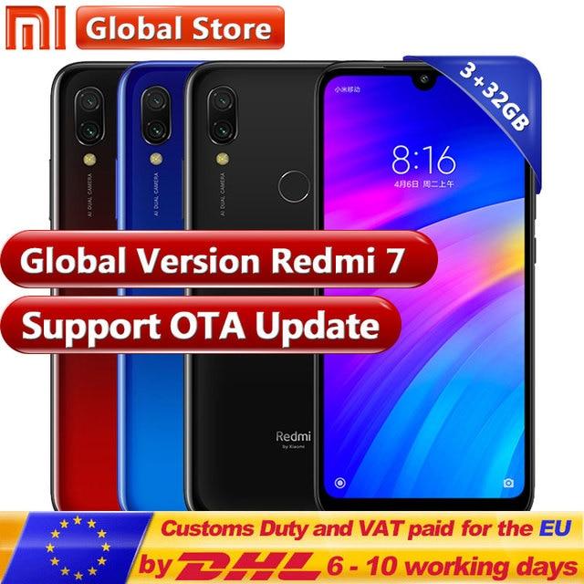 במלאי! הגלובלי גרסת Xiaomi Redmi 7 3 GB 32 GB Snapdragon 632 Smartphone אוקטה Core 4000 mAh 6.26 ''טלפון 12 + 2 MP Dual מצלמה