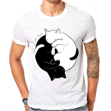 Novelty Printed Eternal Cat Love Design men T shirt 2017 New Fashion Summer Short Sleeve T