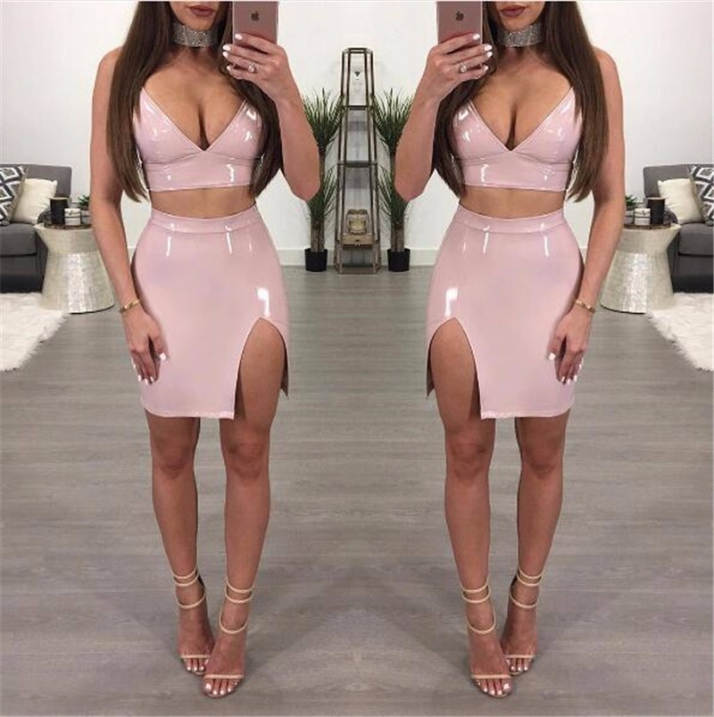 Cuerly night party dress PU leather Bodycon dress Fashion Women Sexy sleeveless Sheath vestidos 2 pieces set zipper dresses in Dresses from Women 39 s Clothing