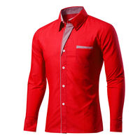 Solid Color Shirt Slim Fit Social Men Clothes Autumn Casual Men Long Sleeve Shirt French Cuff