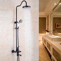 Bathroom Shower Faucet Set Black Bathtub Faucet Shower Mixer Tap Bath Shower Crane Rainfall Shower Head Wall Mixer Torneira Tap