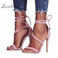 Rumbidzo Women Sandals 2018 Fashion Lace Up Woman High Heels Shoes Gladiator Sandalias Narrow Bond Thin