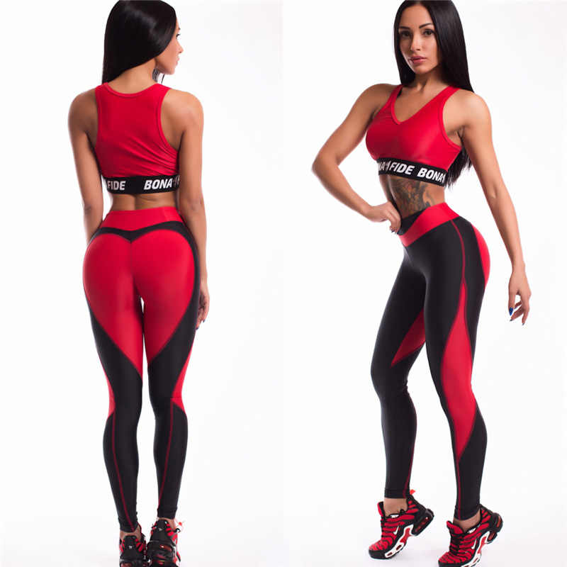 933db1874a337c Heart Shape Leggings Women New Black Red Patchwork Sporting Leggins Ladies  Push Up Workout; Hot!