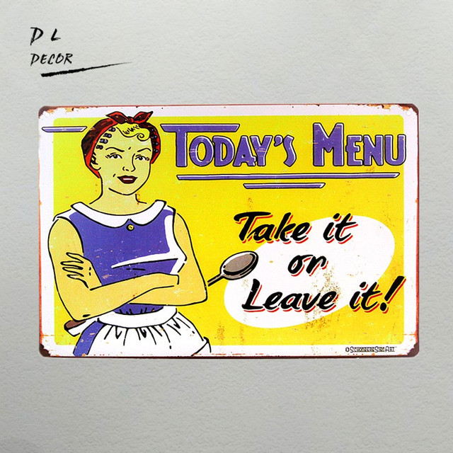 DL TODAY\'S MENU TAKE and LOVE IT TIN SIGN Retro Wall ART Plaque ...