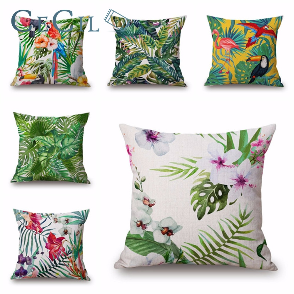 Зеленый завод Cojin тропический бросок наволочки Cojines Nordicos цветы попугай хлопок белье Home Decor диван автомобиля Чехлы