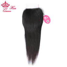 Queen Hair Products Brazilian Virgin Hair Straight Top Swiss Lace Closure Natural Color 10″ to 20″ 100% Human Hair