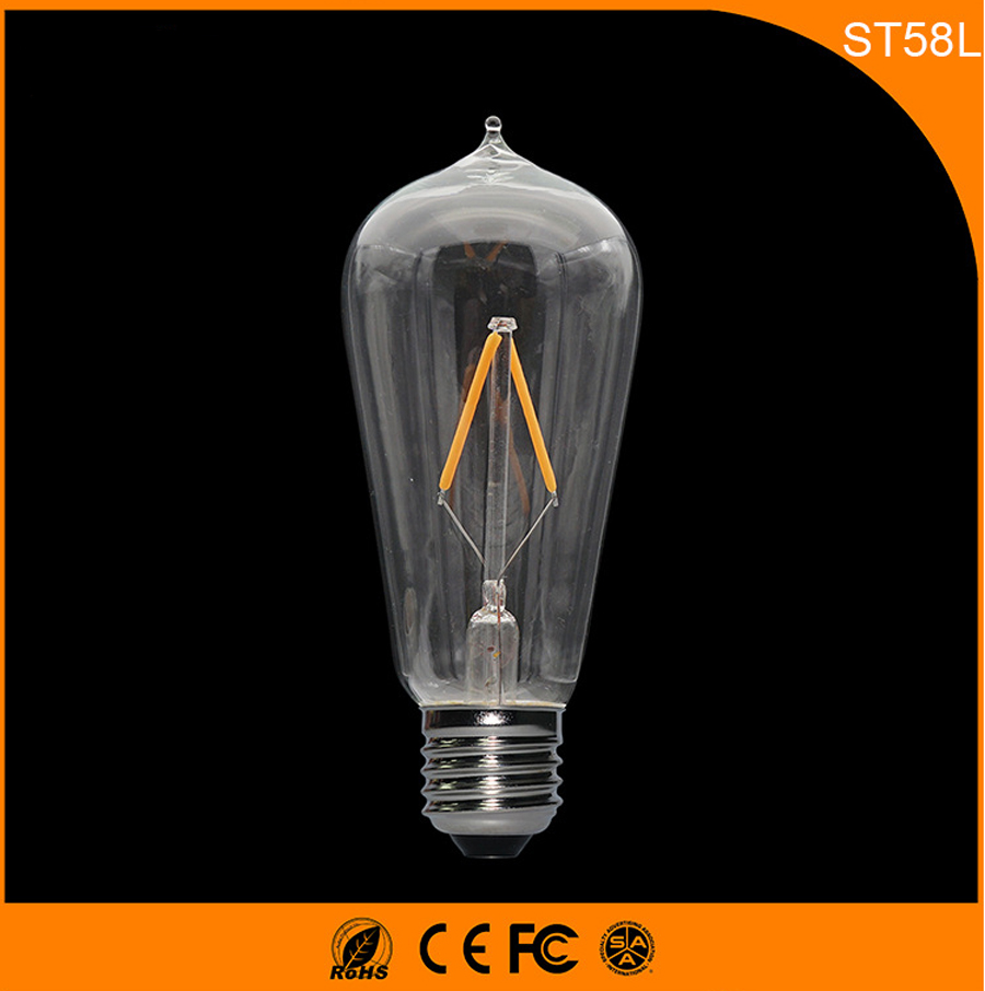 50PCS Retro Vintage Edison E27 B22 LED Bulb ,ST58 2W Led Filament Glass Light Lamp, Warm White Energy Saving Lamps Light AC220V 5pcs e27 led bulb 2w 4w 6w vintage cold white warm white edison lamp g45 led filament decorative bulb ac 220v 240v